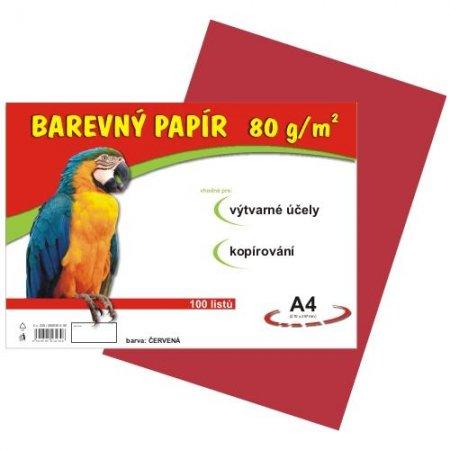 Barevný papír A4, 80g, 100listů, červený
