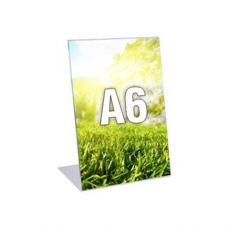 Plexi stojánek typ L - formát A6, orientace na výšku, balení 5ks