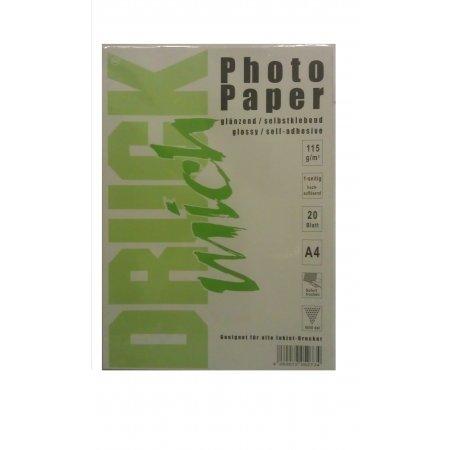 Samolepící fotopapír lesklý A4, 115g, 20 listů