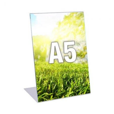 Plexi stojánek typ L, formát A5, orientace na výšku