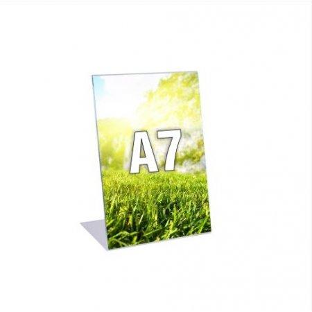 Plexi stojánek typ L, formát A7, orientace na výšku, balení 5ks