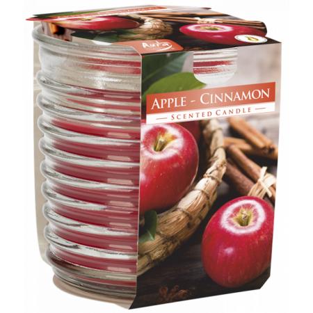 Vonná svíčka Jablko-Skořice vlnkované sklo