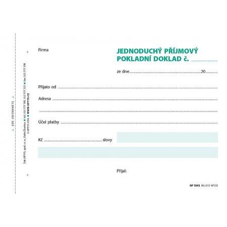 Příjmový doklad A6, jednoduchý, samopropisovací, 100 listů