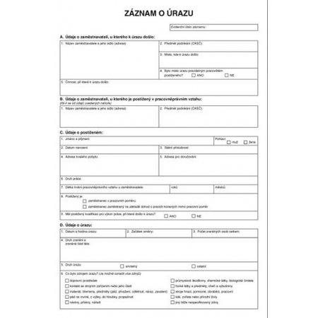 Záznam o úrazu A4, 1 list