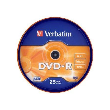 DVD-R Verbatim, 16x 4,7GB, 25 ks