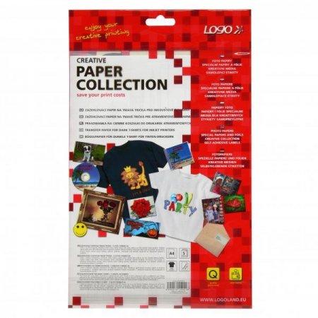 Zažehlovací papír, pro tmavá trička, bílý, A4, 5 listů, pro inkoustové tiskárny