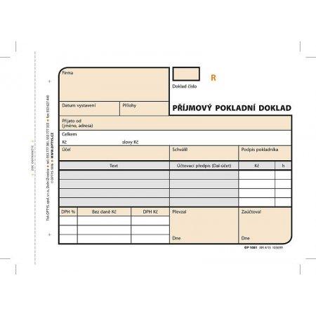 Příjmový doklad A6, samopropisovací, číslovaný, 2 x 50 listů