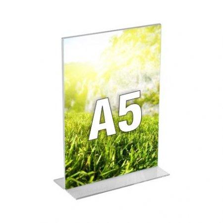 Plexi stojánek kolmý, typ T, formát A5, orientace na výšku, balení 5ks