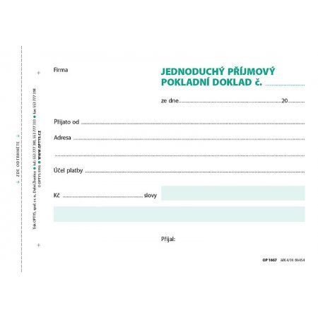 Příjmový doklad A6, jednoduchý, 100 listů