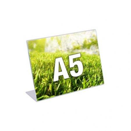 Plexi stojánek typ L, formát A5, orientace na šířku, balení 5ks