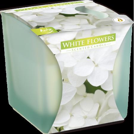 Vonná svíčka ve skle Bílé květy - matná