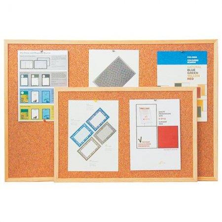 Korková tabule s dřevěným rámem 90x120 cm + montážní sada