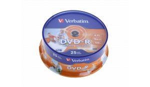 DVD-R VERBATIM printable, cake box 25-pack