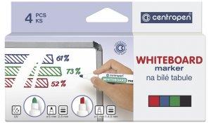 Značkovač na bílé tabule, centropen 8559 stíratelný, sada 4 barvy