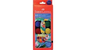 Vodové barvy v plastové paletě, 12 barev, 30mm, stěteček zdarma