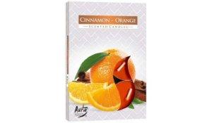 Vonná čajová svíčka Skořice - Pomeranč 6 ks v krabičce