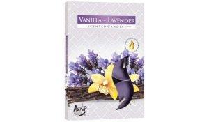 Vonná čajová svíčka Vanilka - Levandule 6 ks v krabičce
