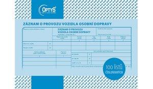 Záznam o provozu vozidla osobní dopravy A5, číslovaný, 100 listů
