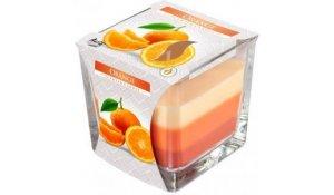 Vonná svíčka Pomeranč tříbarevná ve skle