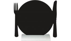 Stolní popisovací tabule TALÍŘ s popisovačem, hliníkový stojánek