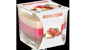 Vonná svíčka Jablko - Skořice tříbarevná ve skle