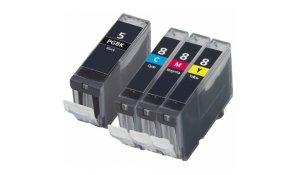 Canon PGI-5 + CLI-8CMY - kompatibilní multibalení 4 cartridge s čipy