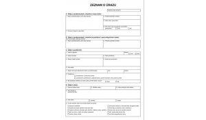 Záznam o úrazu A4, 1 list, 10ks