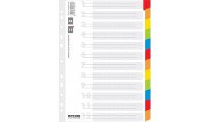Rozdružovač A4 barevný karton, 12 listů
