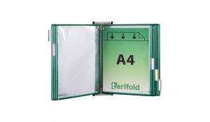 nástěnný kovový držák, 10 kapes A4 na výšku, otevřené shora, zelené
