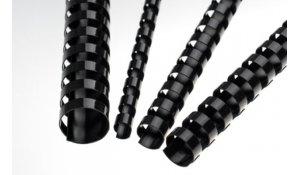 Kroužkový hřbet černý plast pro vazbu 6 mm, až 20 listů, 100ks