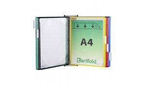 nástěnný kovový držák magnetický, 10 kapes A4 na výšku, otevřené shora, mix barev